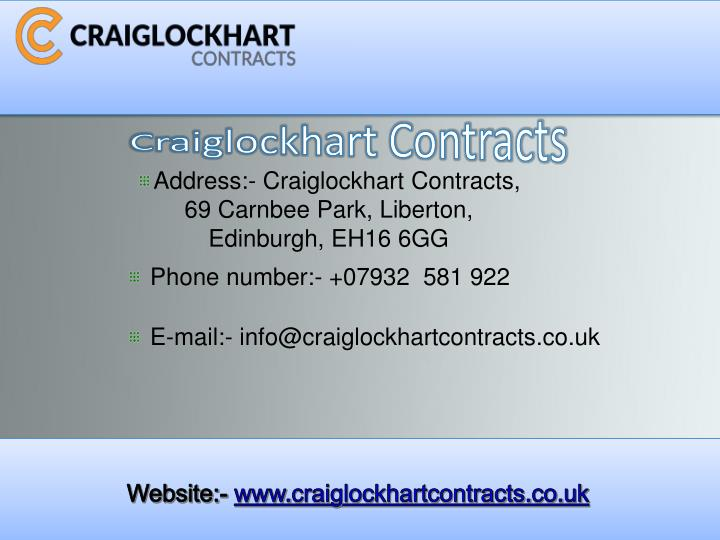 Craiglockhart Contracts
