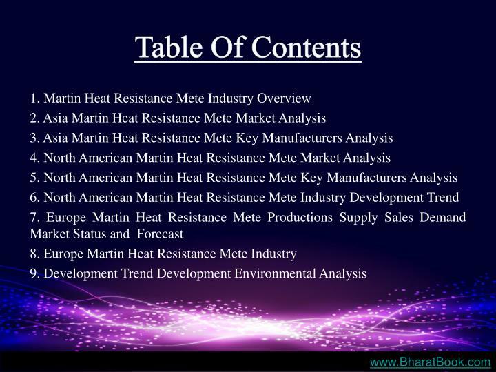 1. Martin Heat Resistance Mete Industry Overview