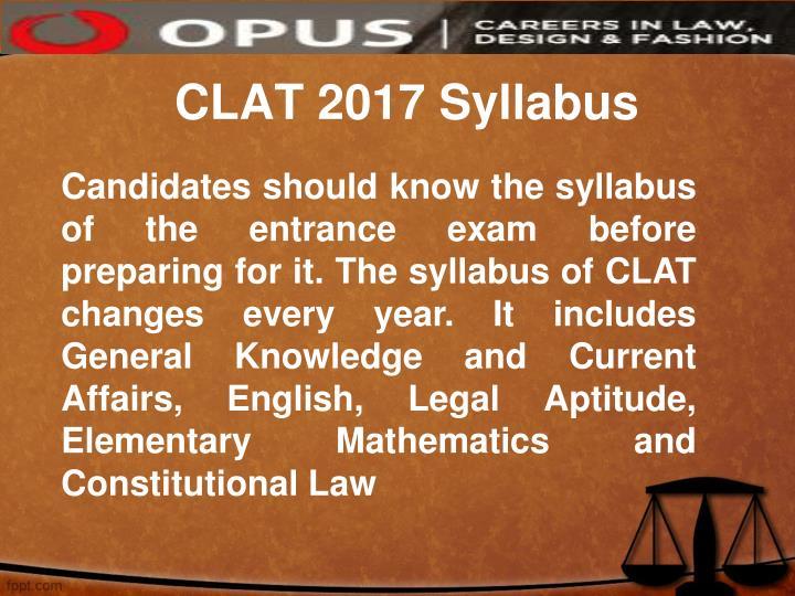 CLAT 2017 Syllabus