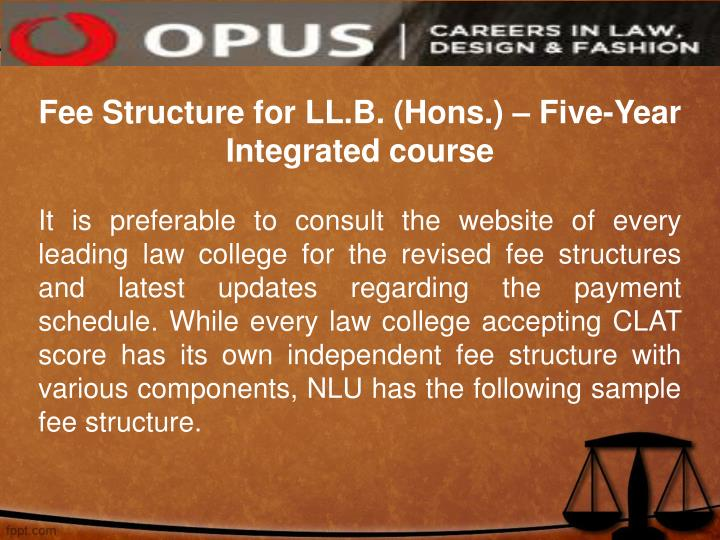 Fee Structure for LL.B. (Hons.) – Five-Year Integrated course