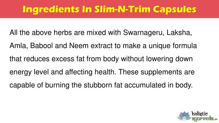 Ingredients In Slim-N-Trim Capsules