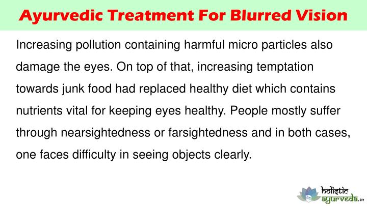 Ayurvedic Treatment For Blurred Vision