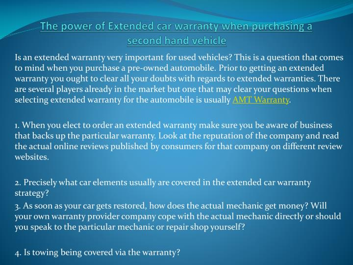 The power of extended car warranty when purchasing a second hand vehicle