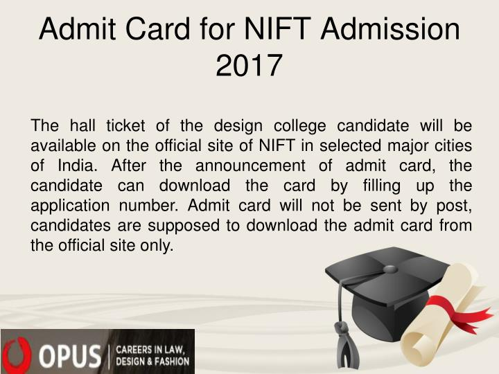 Admit Card for NIFT Admission 2017