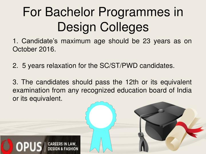 For Bachelor Programmes in Design Colleges