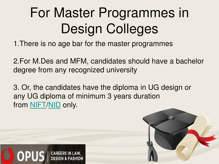 For Master Programmes in Design Colleges