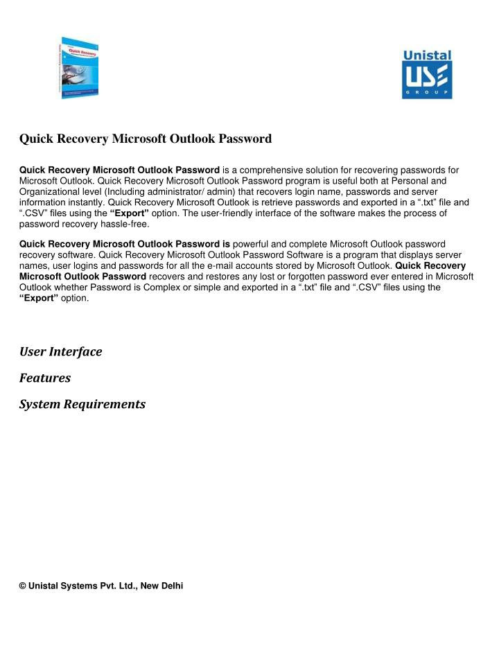 Quick Recovery Microsoft Outlook Password