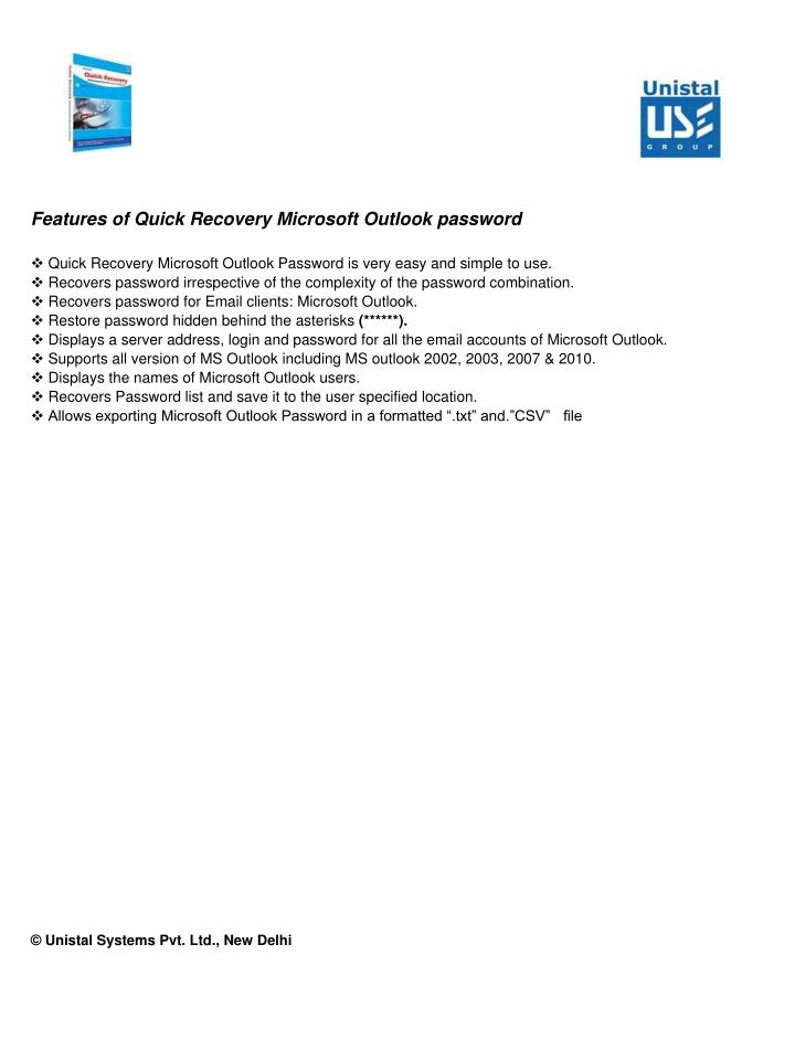 Features of Quick Recovery Microsoft Outlook password