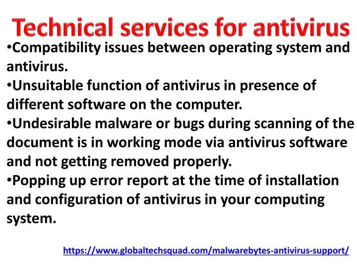 Technical services for antivirus