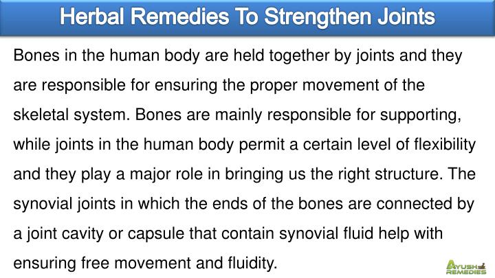 Herbal Remedies To Strengthen Joints