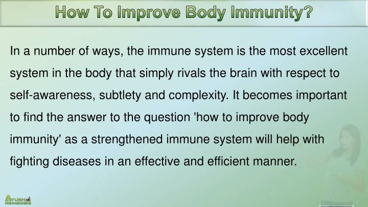 How To Improve Body Immunity?