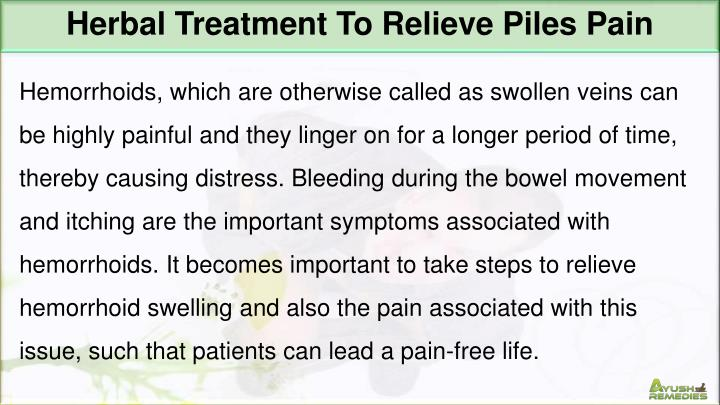 Herbal Treatment To Relieve Piles Pain