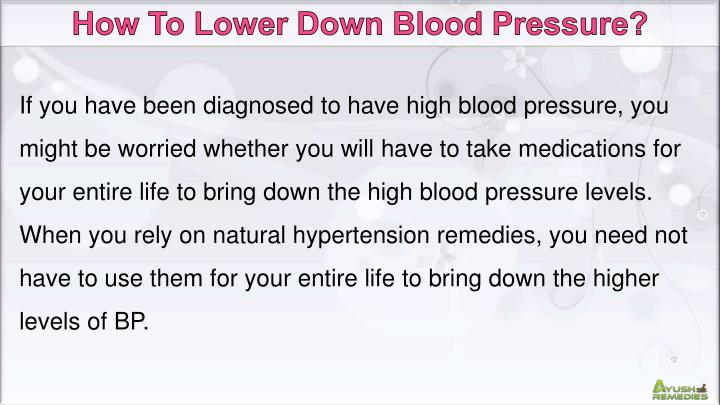 How To Lower Down Blood Pressure?