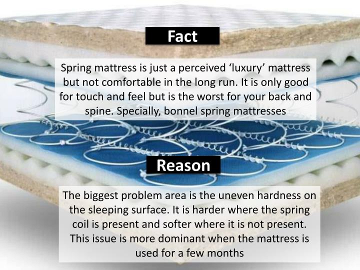Spring mattress is just a perceived 'luxury' mattress but not comfortable in the long run. It is only good for touch and feel but is the worst for your back and spine. Specially,