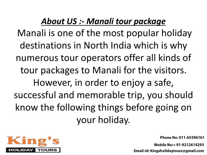 About US :- Manali tour package