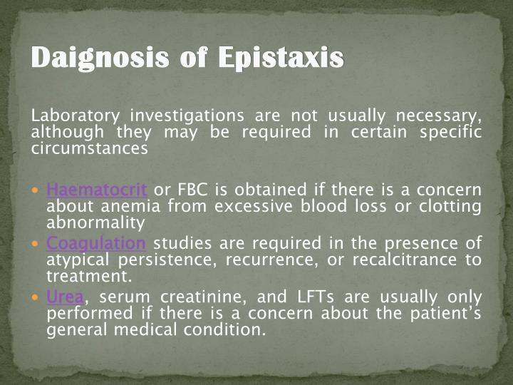 Daignosis of Epistaxis