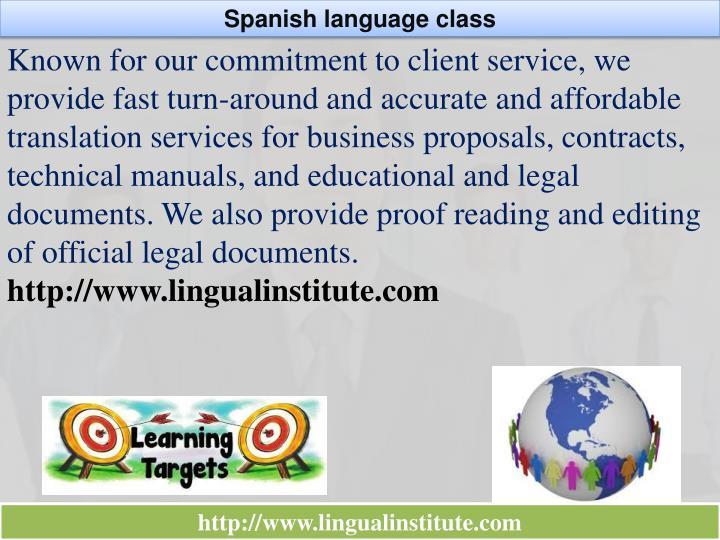 Spanish language class