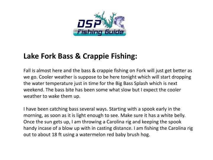 Lake Fork Bass & Crappie Fishing: