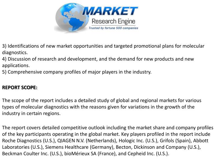 3) Identifications of new market opportunities and targeted promotional plans for molecular diagnostics.