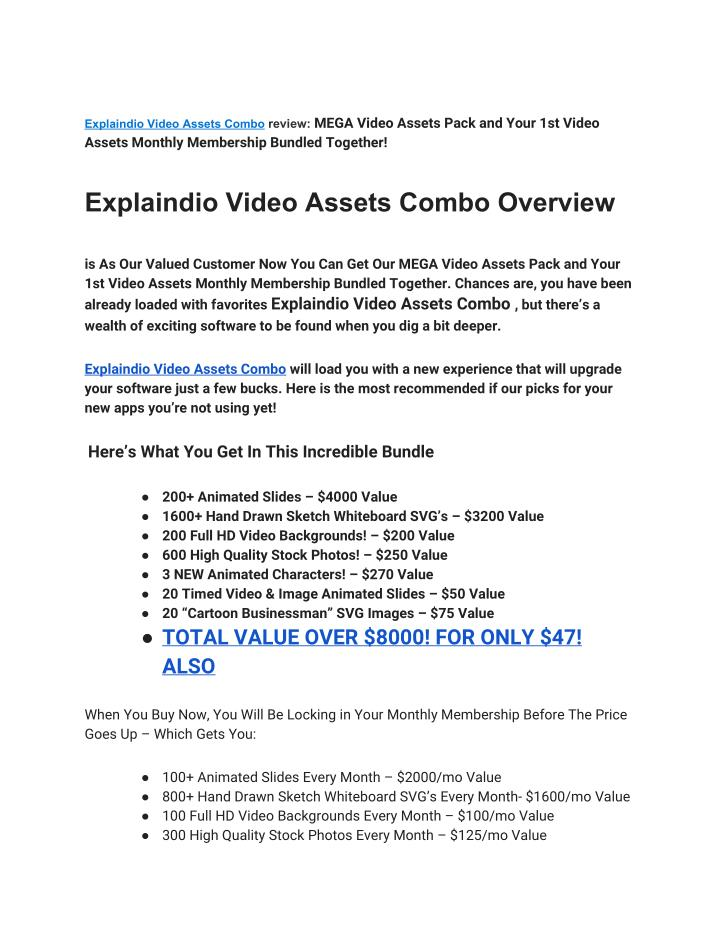 Explaindio Video Assets Combo