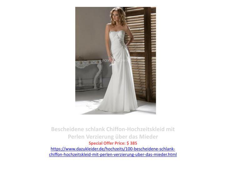 Bescheidene schlank Chiffon-Hochzeitskleid mit Perlen Verzierung über das Mieder