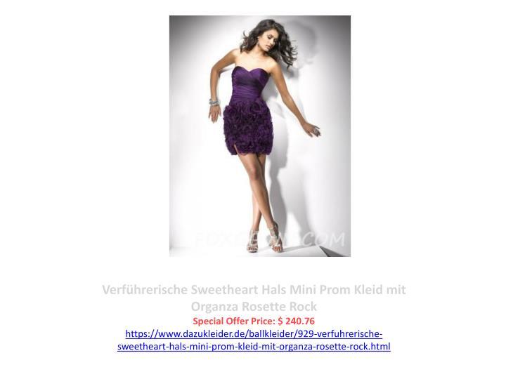 Verführerische Sweetheart Hals Mini Prom Kleid mit Organza Rosette Rock