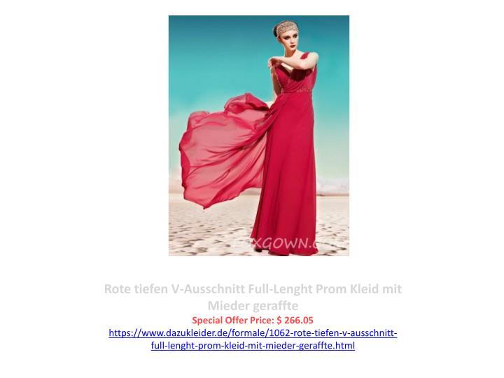 Rote tiefen V-Ausschnitt Full-Lenght Prom Kleid mit Mieder geraffte