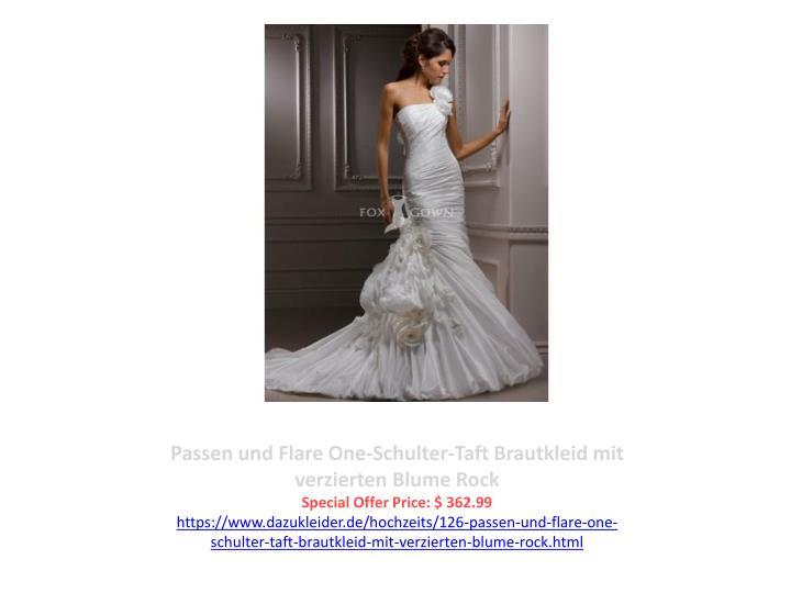 Passen und Flare One-Schulter-Taft Brautkleid mit verzierten Blume Rock