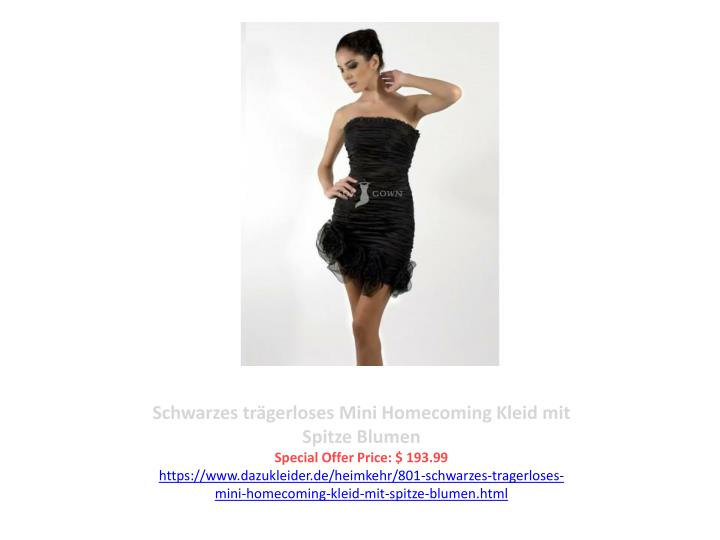 Schwarzes trägerloses Mini Homecoming Kleid mit Spitze Blumen