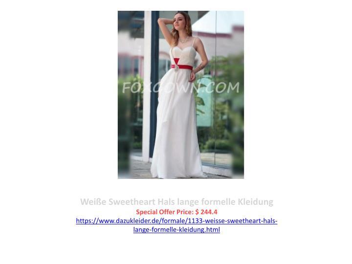 Weiße Sweetheart Hals lange formelle Kleidung