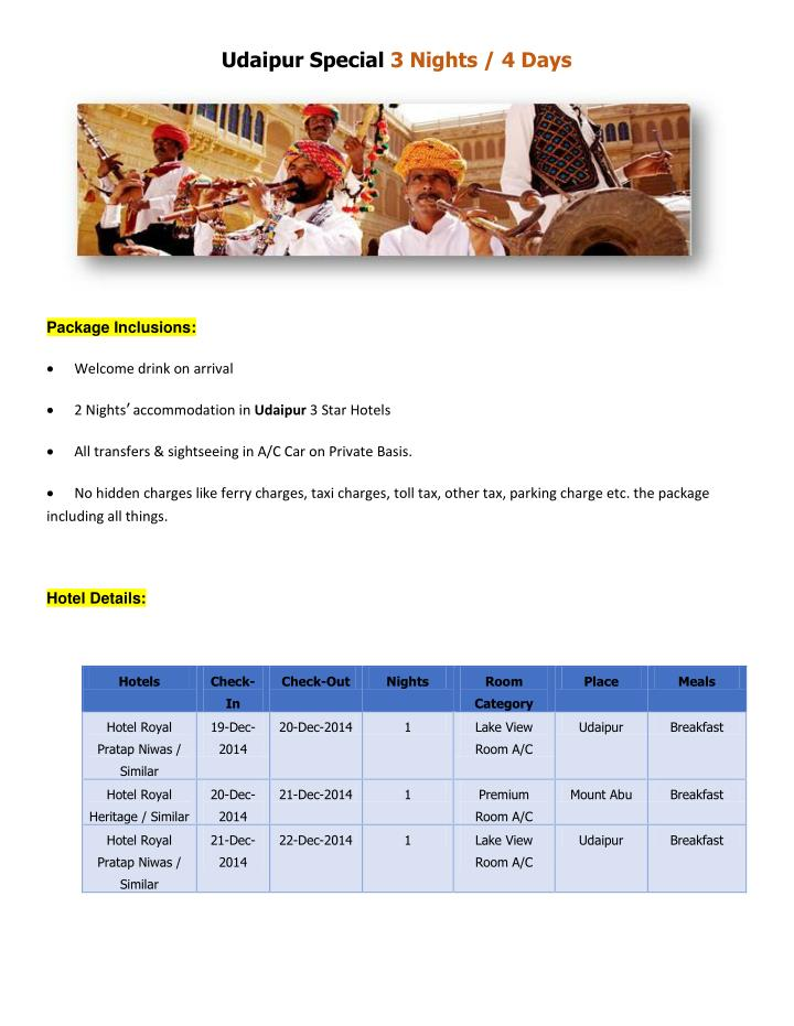 Udaipur Special 3 Nights / 4 Days