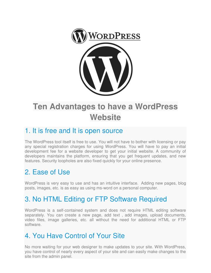 Ten Advantages to have a WordPress