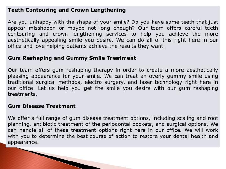 Teeth Contouring and Crown Lengthening