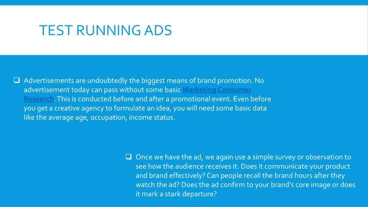 Test running Ads