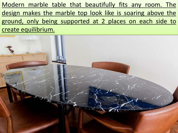 Modern marble table that beautifully fits any room. The design makes the marble top look like is so...