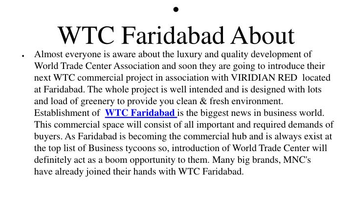 Wtc faridabad about