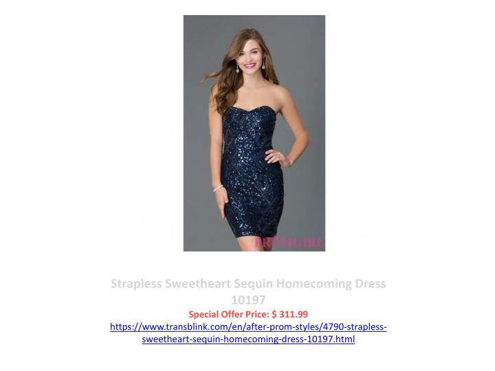 Strapless Sweetheart Sequin Homecoming Dress 10197