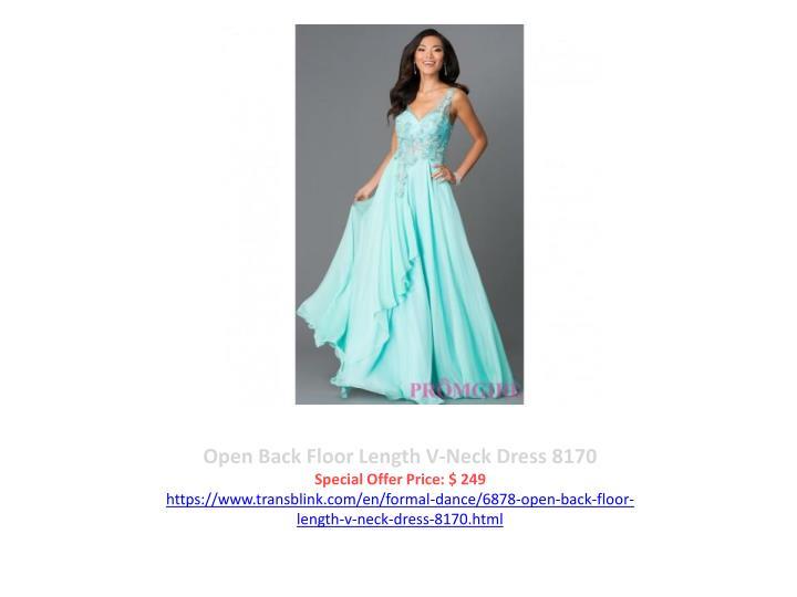 Open Back Floor Length V-Neck Dress 8170