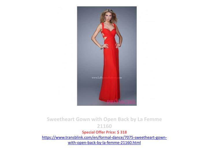 Sweetheart Gown with Open Back by La Femme 21160