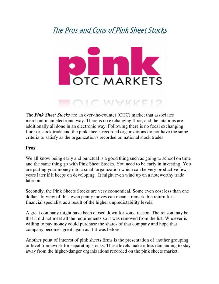 The Pros and Cons of Pink Sheet Stocks
