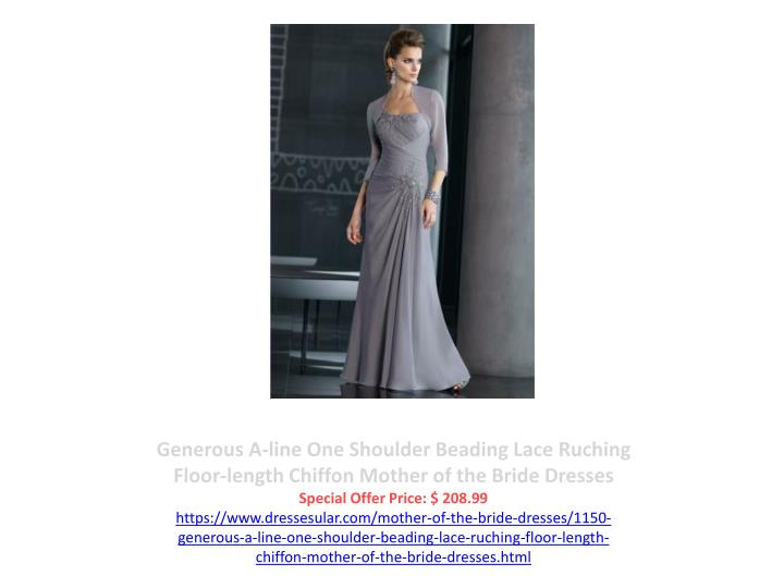 Generous A-line One Shoulder Beading Lace Ruching Floor-length Chiffon Mother of the Bride Dresses