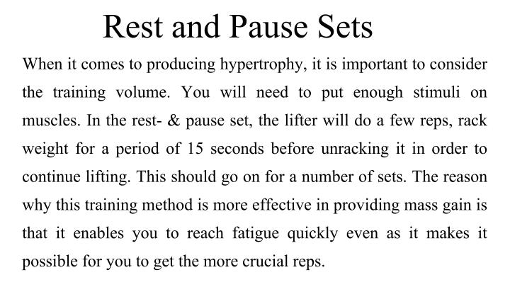 Rest and Pause Sets