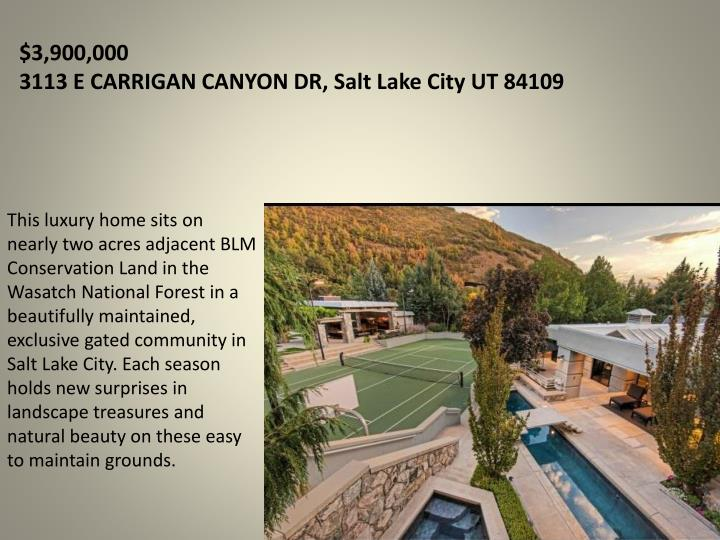 3 900 000 3113 e carrigan canyon dr salt lake city ut 84109