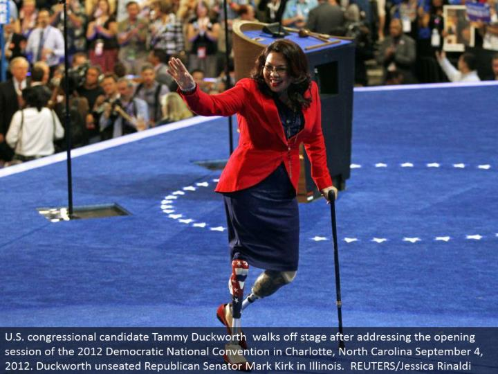 U.S. congressional applicant Tammy Duckworth strolls off stage subsequent to tending to the opening session of the 2012 Democratic National Convention in Charlotte, North Carolina September 4, 2012. Duckworth unseated Republican Senator Mark Kirk in Illinois. REUTERS/Jessica Rinaldi