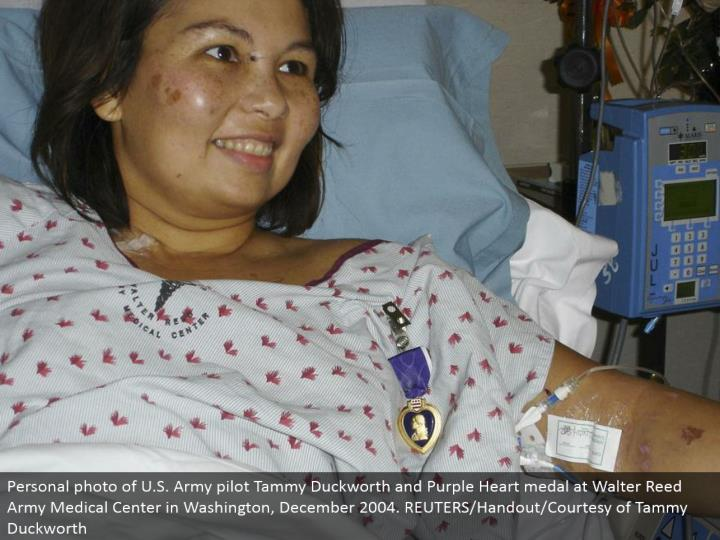 Personal photograph of U.S. Armed force pilot Tammy Duckworth and Purple Heart decoration at Walter Reed Army Medical Center in Washington, December 2004. REUTERS/Handout/Courtesy of Tammy Duckworth