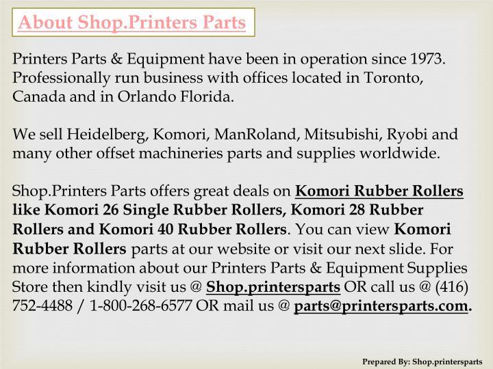 About Shop.Printers Parts