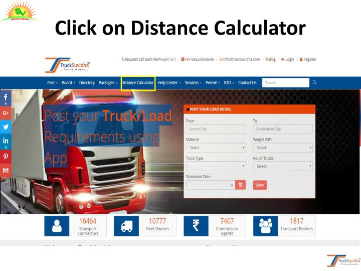 Click on Distance Calculator