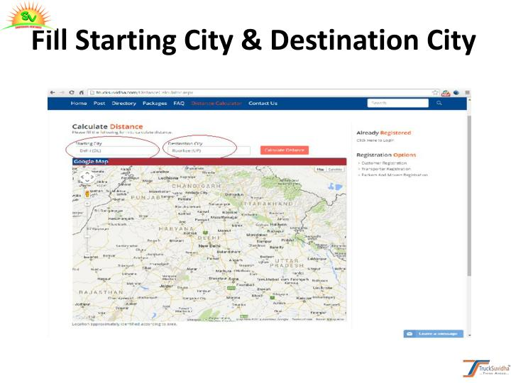 Fill Starting City & Destination City