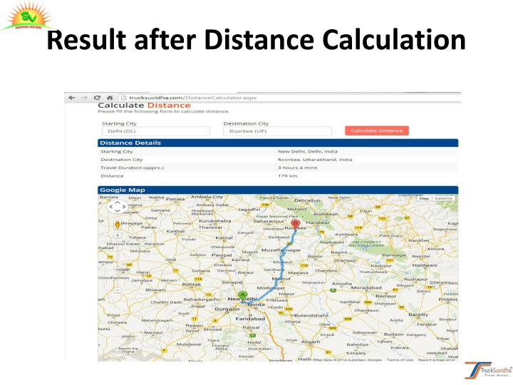 Result after Distance Calculation