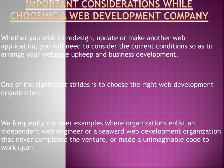 Important considerations while choosing a web development company